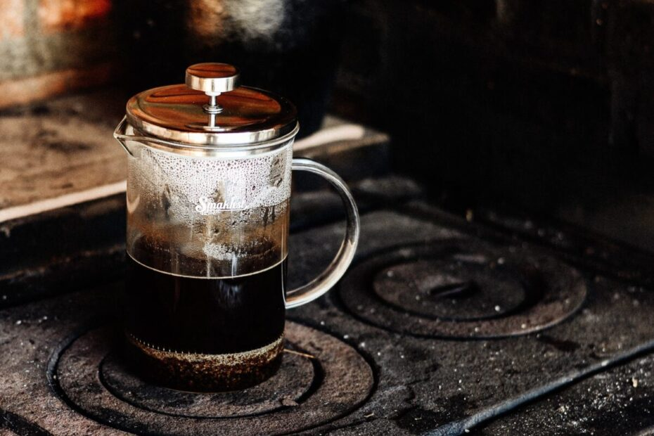 cafetiere coffee on iron stove