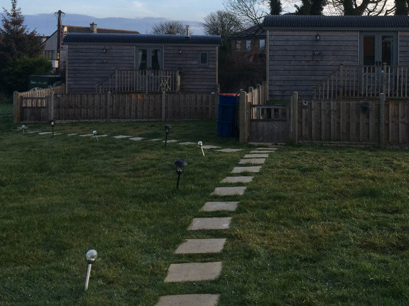 two shepherds hut with fences north wales