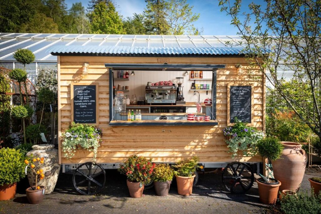 pumphrey and weston shepherd's hut used for catering trailer
