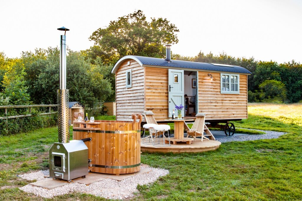 shepherds hut with wood fired hot tub