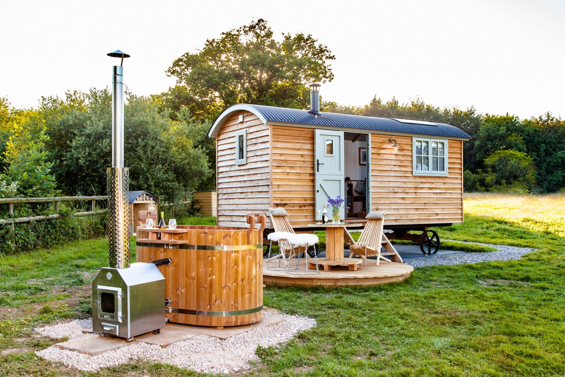 timber cladding on a shepherds hut and hot tub