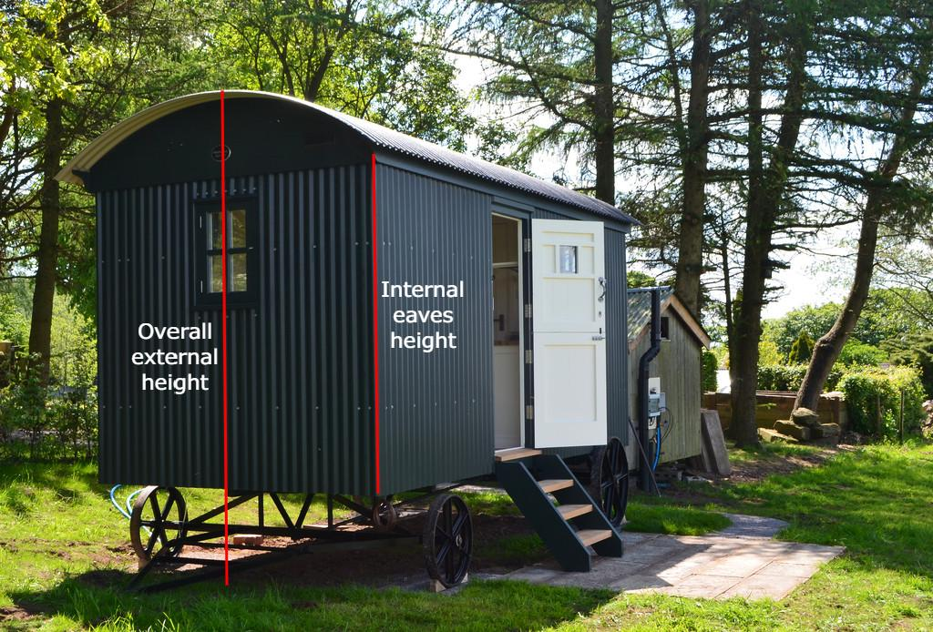 how tall is a shepherds hut drawing of overall external height and eaves height