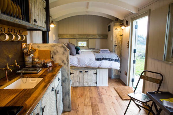 tin and wood shepherds hut in leicestershire cosy interior for uk holiday