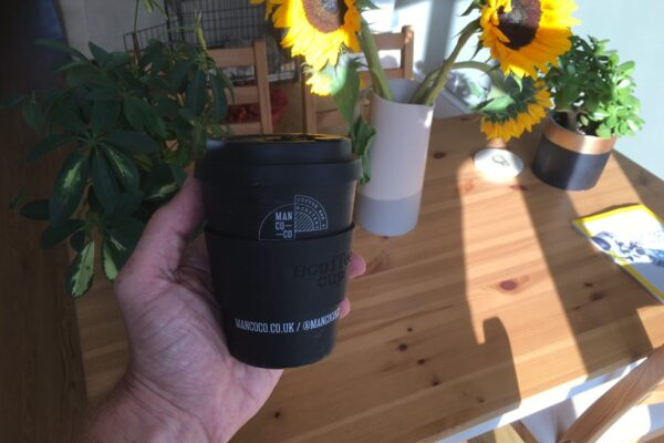 ecoffee cup with silicone sleeve and lid
