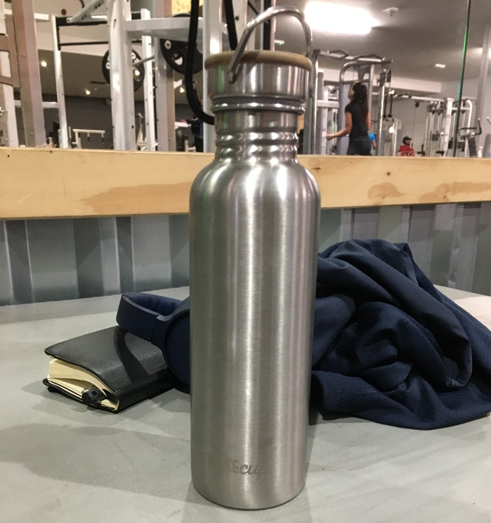 my easy to clean stainless steel water bottle at the gym