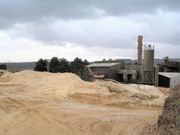 A quarry in Yorkshire environment extracting silica sand to make silicone