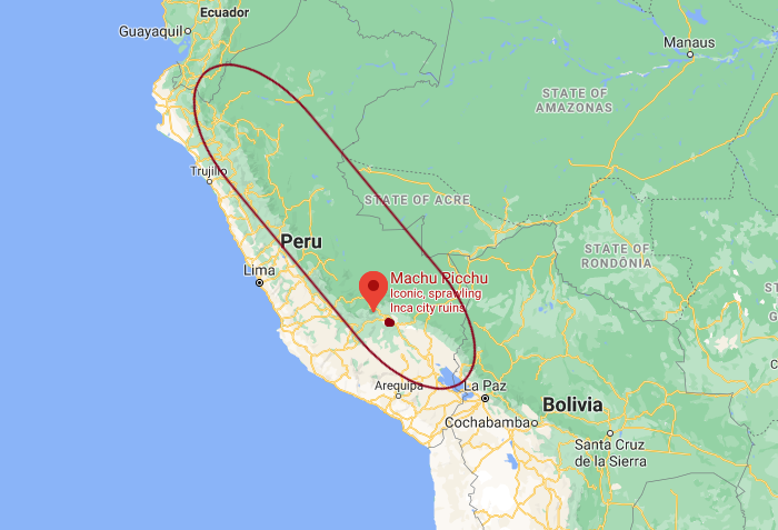 coffee growing region of Peru on a map showing machu picchu