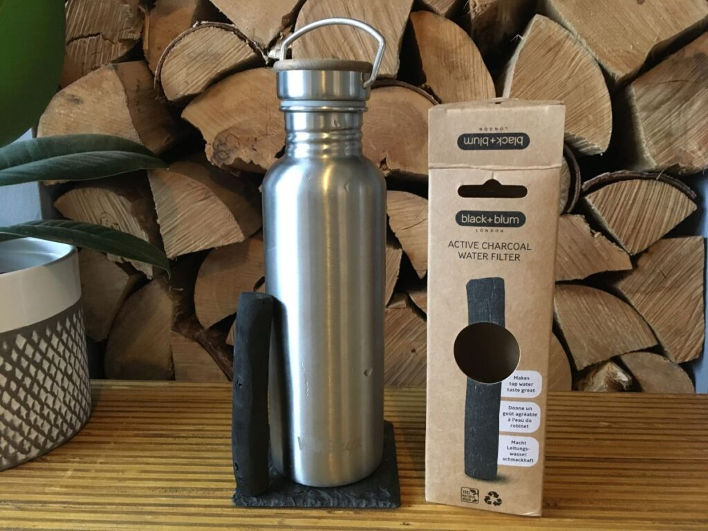 activated charcoal stick black + blum going into stainless steel water bottle