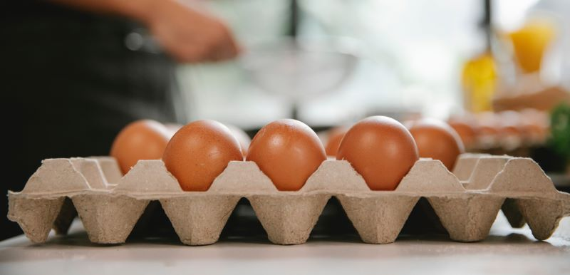 cardboard egg box from the side with eggs in