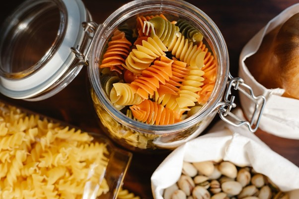 glass jar full with pasta